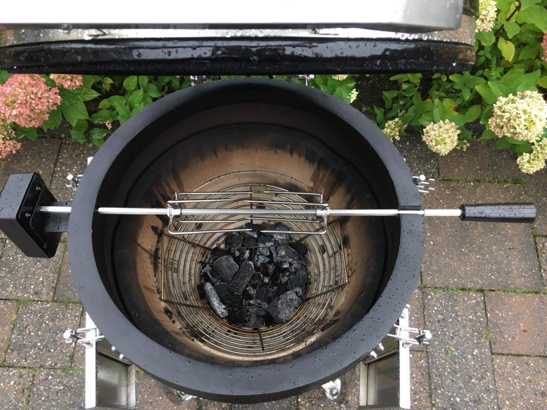 Kamado Rotisserie Spit on Fire